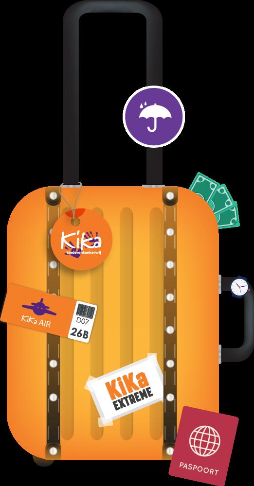 KiKa, oranje koffer, tickets, paspoort, vliegticket.